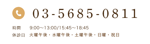03-5685-0811 時間 9:00~13:00/15:45~18:45 休診日 火・水・土曜午後・日曜・祝日